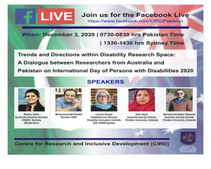 A Dialogue Of Researches  from Australia and Pakistan on IDDP 2020